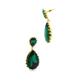 Celebrity Style Big Green CZ Glass Fashion Earring - FlipJewels