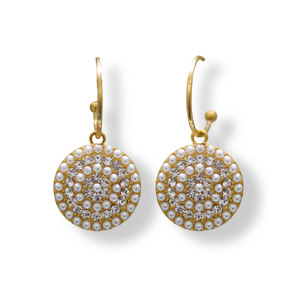 Simulated Pearls studded in Yellow gold colour designer earring. Jhumka Earrings Online Shopping