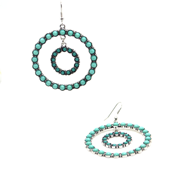 Turquoise Simulant Double circle fashion Earrings - FlipJewels