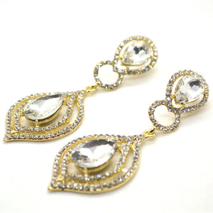 Designer Yellow Gold colour White CZ Studded Big Fashion Dangling Earring - FlipJewels
