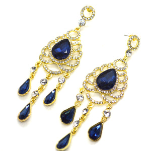 Big Blue Chandelier Dangling Gold Colour Earrings - FlipJewels