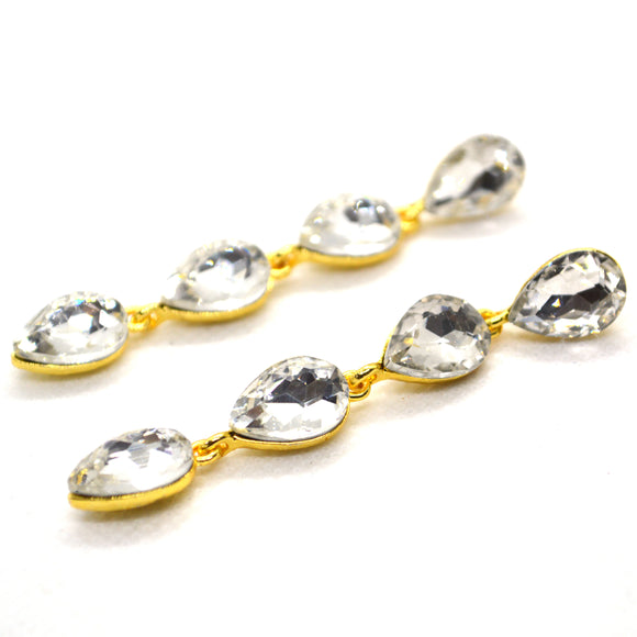 White CZ Studded Yellow Gold colour Straight Dangling Earring - FlipJewels