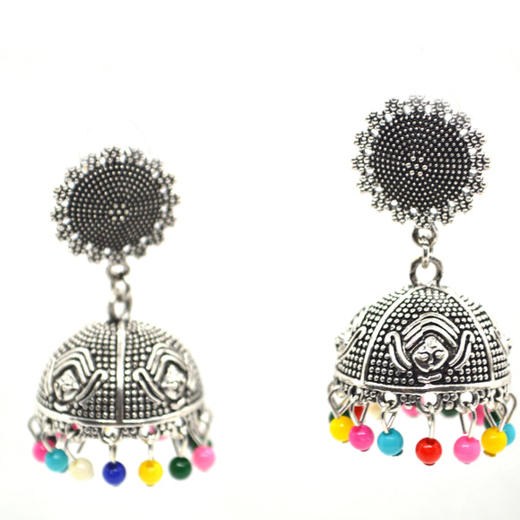 Silver Colour Multi colour beads Jhumki Earrings - FlipJewels