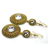 Big Diamond CZ and Filigree Gold colour earrings - FlipJewels
