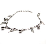 Silver Color leaf and ball charms bracelet - FlipJewels