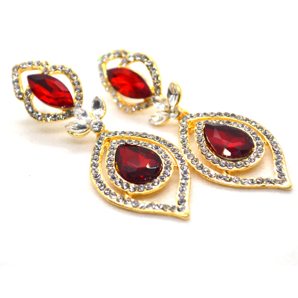 Red colour CZ gold colour designer earrings - FlipJewels