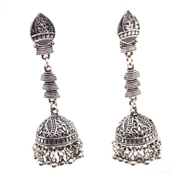 Ethnic Silver colour metal beads designer Jhumki Earrings - FlipJewels