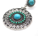 Bohemian style turquoise colour gemstone studded ethnic earring - FlipJewels