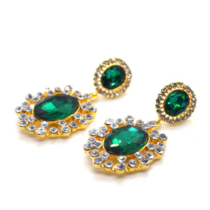 Green and white CZ Gold colour fashion earrings - FlipJewels