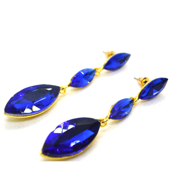 CZ studded straight Dangling gold colour earring - FlipJewels
