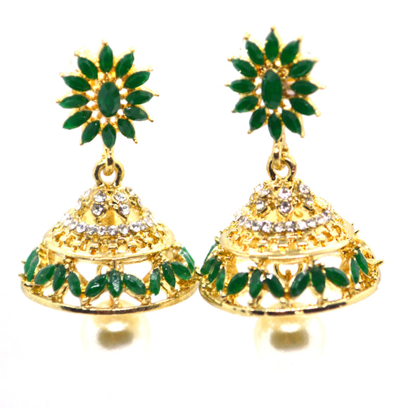 Emerald CZ and Sim pearls gold colour jhumki earrings - FlipJewels