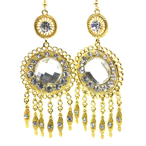 Big Chandelier style designer gold colour Earring - FlipJewels