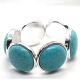 Big and Chunky Turquoise Colour Stretch bracelet - FlipJewels