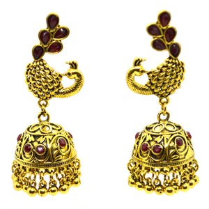 Gemstones studded Peacock theme Gold Colour Big Ethnic Jhumki Earring - FlipJewels