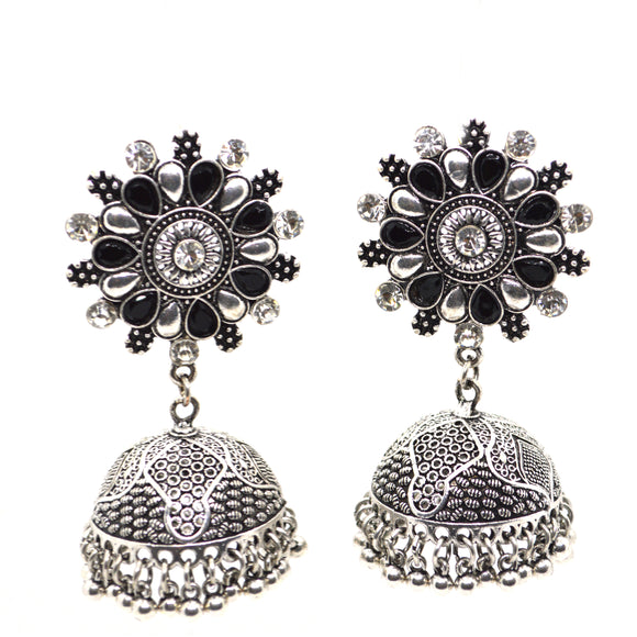 Gemstones studded Big Ethnic Jhumki Earring - FlipJewels