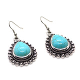Ethnic look Silver alloy turquoise green colour designer Earring - FlipJewels