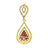 Designer Diamond CZ and Red CZ fashion earring - FlipJewels