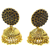 Gemstones studded Gold Colour Big Ethnic Jhumki Earring - FlipJewels