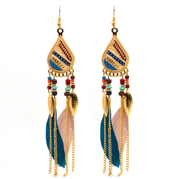 Tribal Collection Gold Colour Feather Tassel Drop Earrings for Women & Girls Alloy Drops & Danglers - FlipJewels