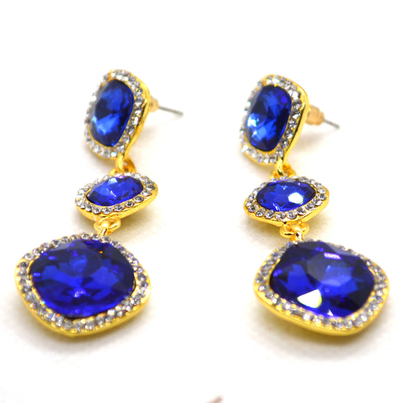 Colour CZ and Diamond CZ long Dangling Gold Colour Fashion Earrings - FlipJewels