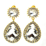 Celebrity inspired Big Diamond CZ and Filigree Gold colour earrings - FlipJewels