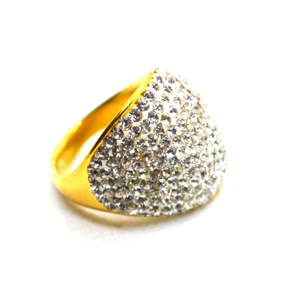 American Diamonds Studded Yellow gold color designer CZ Jewellery Ring - FlipJewels