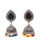 Ethnic Multi colour beads and mirror Jhumki Earrings - FlipJewels