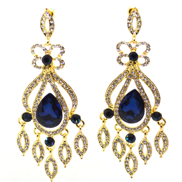 Big Blue CZ and Diamond CZ Chandelier Dangling Gold Colour Earrings - FlipJewels