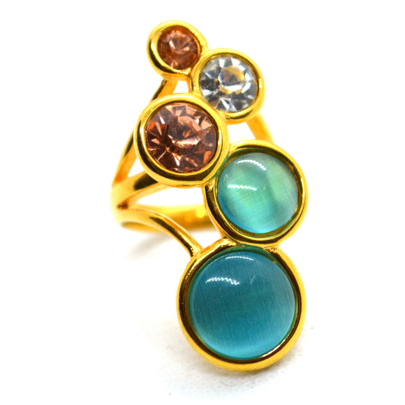 Multicolour Gemstones yellow gold color Fashion Ring CZ Jewellery Assorted Colour - FlipJewels