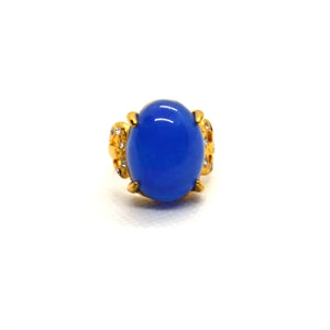 Blue Colour Lapis Simulated Gemstone studded yellow gold color  fashion Ring - FlipJewels