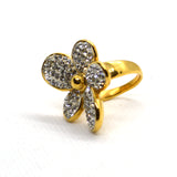 American Diamonds Studded Yellow gold color designer CZ Jewellery Floral Ring - FlipJewels