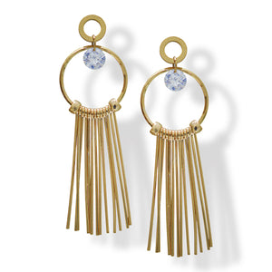 American diamond studded yellow gold plated latest fashion earring