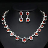 Big Royal Blue and Diamond CZ Floral Necklace Jewelry Set - FlipJewels