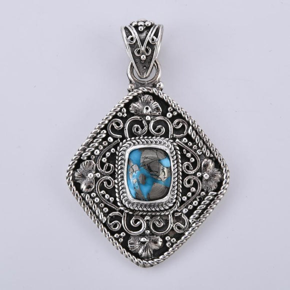 Persian Turquoise 925 Sterling Silver Designer hand crafted Pendant
