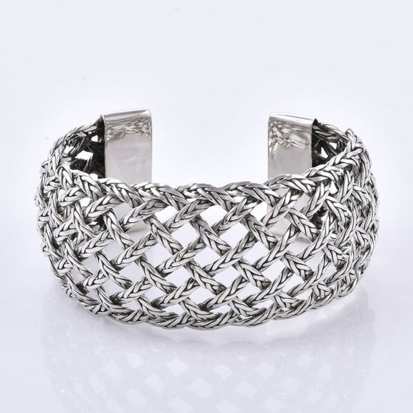 Braided Mesh  925 Sterling Silver Handcrafted Cuff Bangle