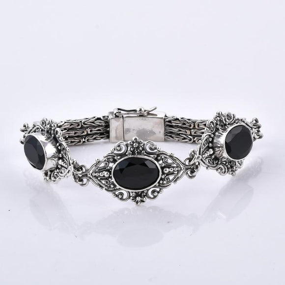 Divine Bali Collection Black Spinel Studded 925 Sterling Silver Handcrafted Bracelet