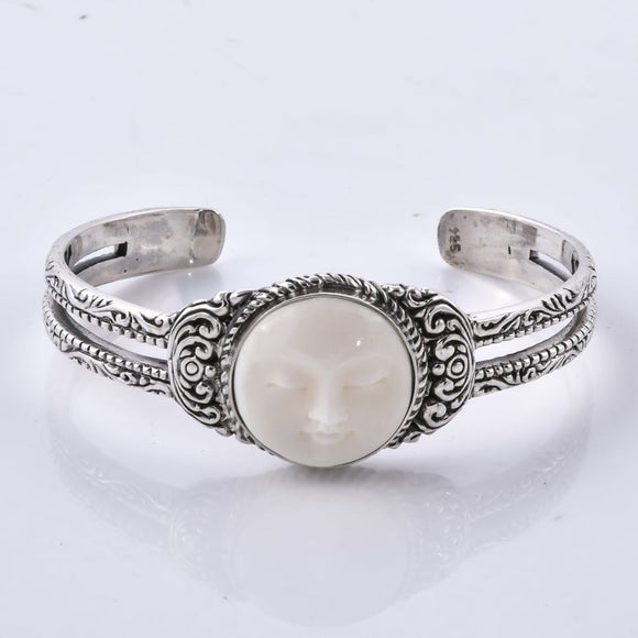 Divine Bali Collection Moon Face 925 Sterling Silver Handcrafted Cuff Bangle