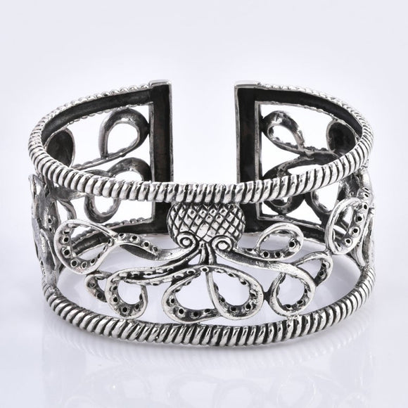 Divine Bali Collection Octopus inspired Designer 925 Sterling Silver Handcrafted Cuff Bangle