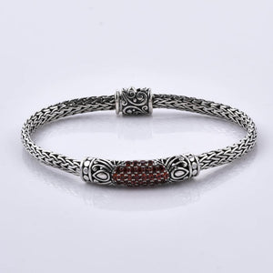 Red Garnet 925 Sterling Silver Handcrafted Bracelet