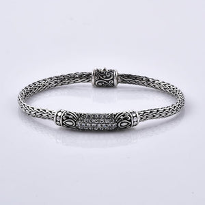 Natural White Zircon 925 Sterling Silver Handcrafted Bracelet