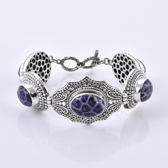 Purple Fossilized Coral 925 Sterling Silver Large Bracelet
