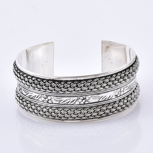 Designer Mesh Pattern 925 Sterling Silver Handcrafted Cuff Bangle