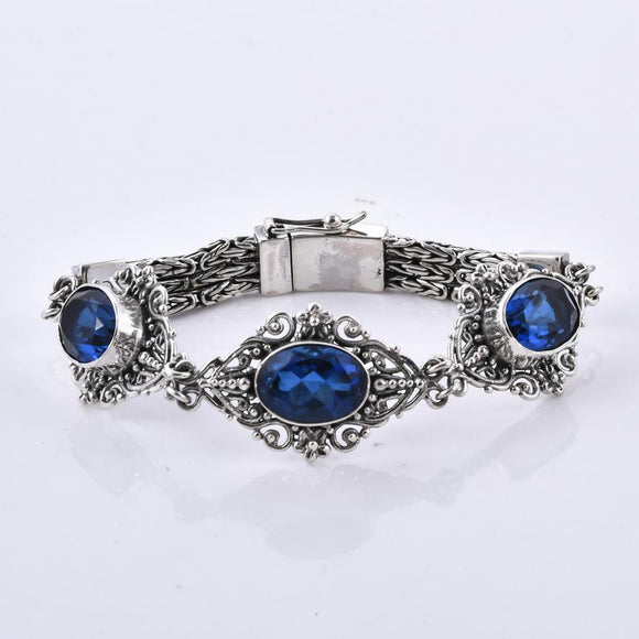 Divine Bali Collection Ceylon colour quartz Studded 925 Sterling Silver Handcrafted Bracelet