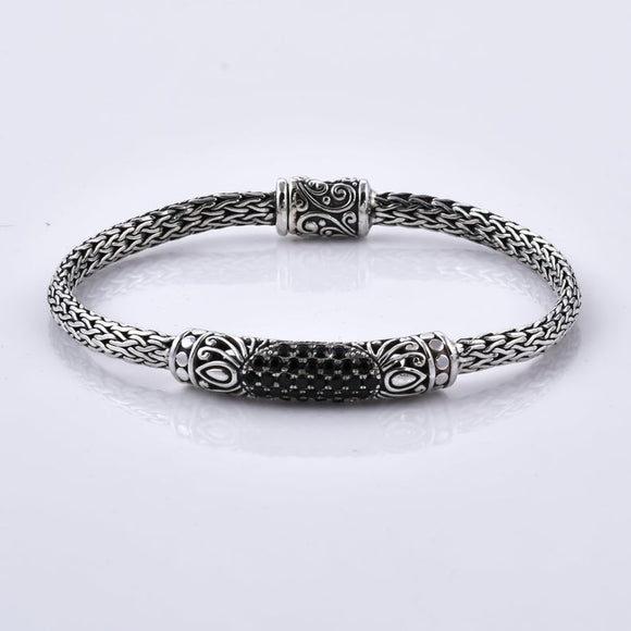 Black Spinnel 925 Sterling Silver Handcrafted Bracelet