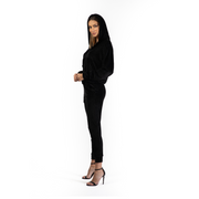 Trening din catifea neagra - Regular Fit