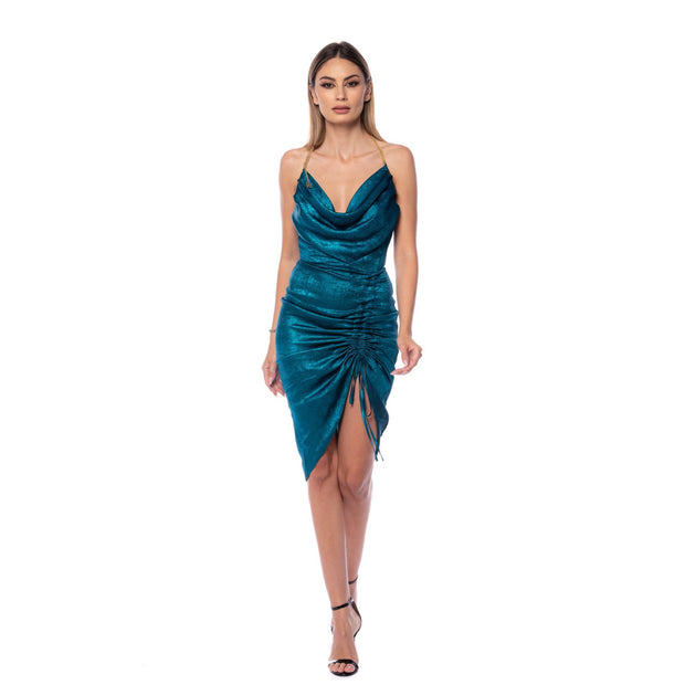 Dress To Impress - Rochie drapata midi Metalic Blue
