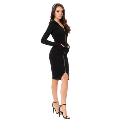 Less is More - Rochie bodycon cu gluga