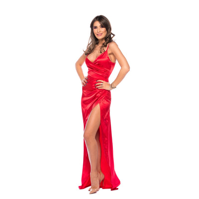 Be that girl rochie din satin rosu