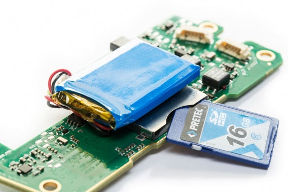 bottom view of a bare circuit board version of a two channel CAN bus interface and data logger including SD memory card