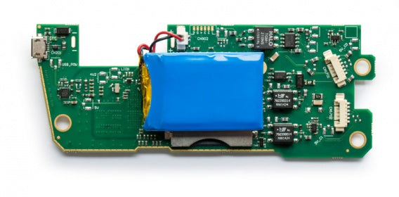 bottom view of a bare circuit board version of a two channel CAN bus interface and data logger